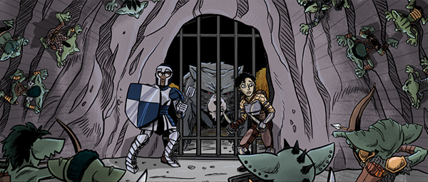 A dozen goblins corner two hapless adventurers in front of a barred gate